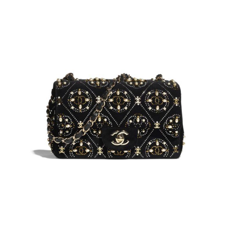 Chanel/香奈儿高仿包包 Chanel 丝绒款珍珠口盖包