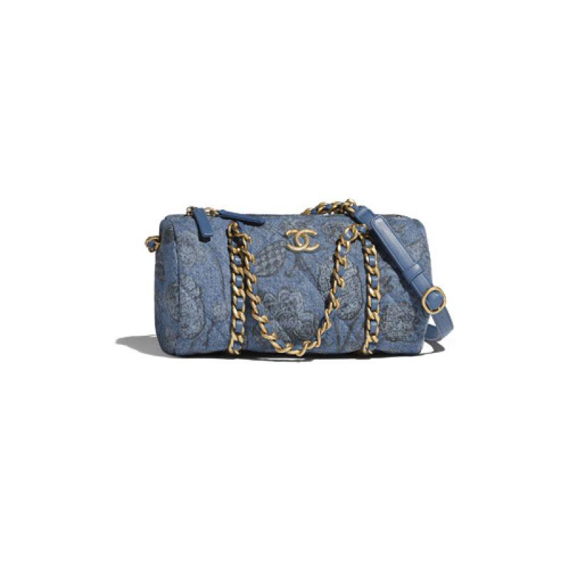 Chanel/香奈儿高仿包包 Chanel小号印花牛仔布保龄球包