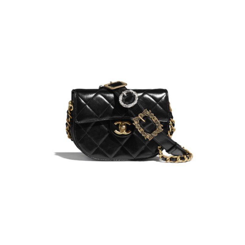 Chanel/香奈儿高仿包包 Chanel亮面小牛皮迷你邮差包