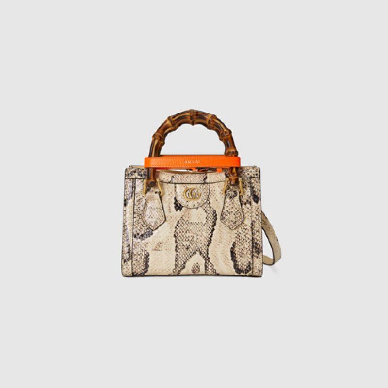 Gucci/古驰高仿包包 Gucci 2021新款Diana竹节蟒蛇皮托特包