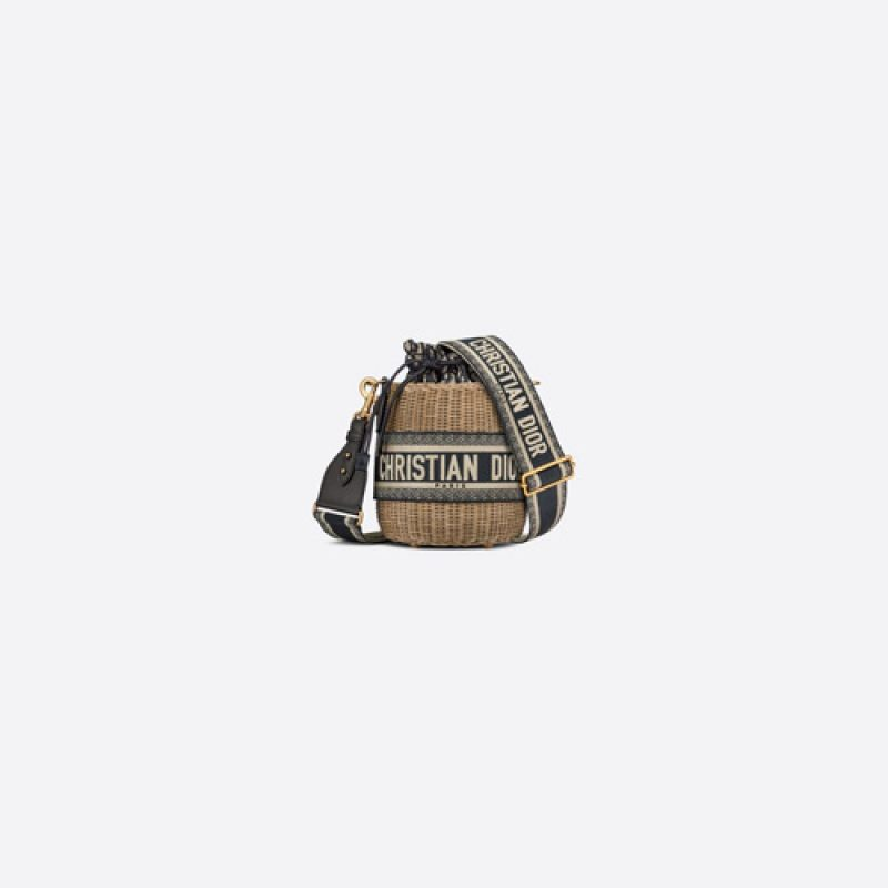 Dior/迪奥高仿原单包包 Dior Wicker 柳条 Oblique 印花水桶包