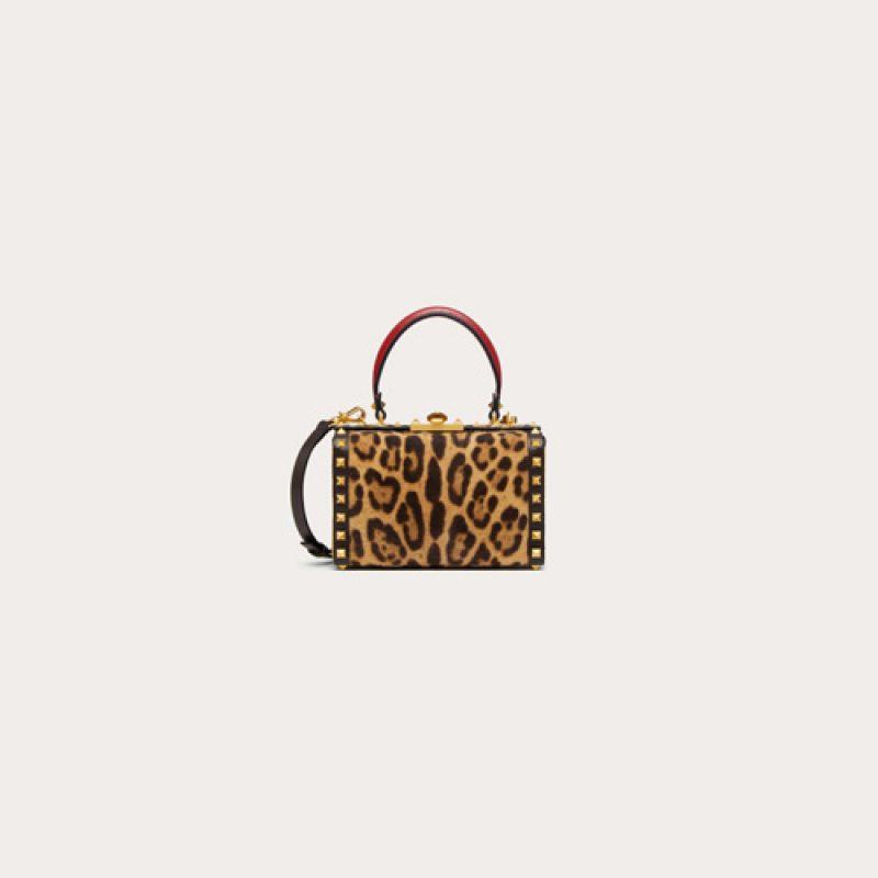 Valentino/华伦天奴高仿包包 Rockstud Alcove豹纹印花皮箱型手提包