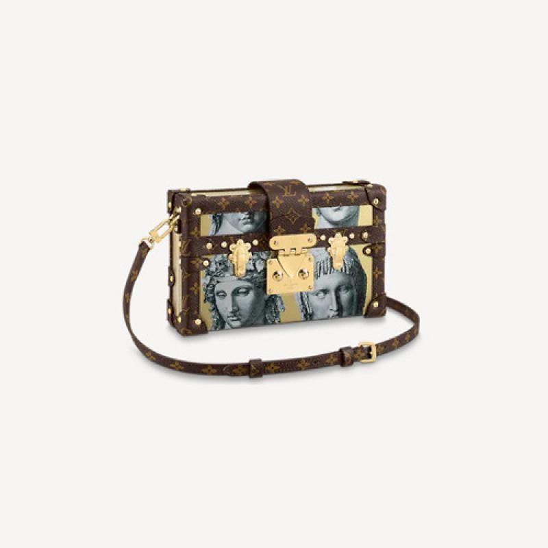 LV/路易威登高仿包包 古罗马雕像印花Petite Malle手袋 锁扣盒子包